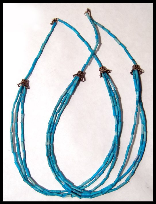 23: Lot of 2 Egyptian faience tube-bead necklaces