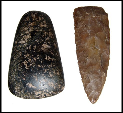 1: Pre-Dynastic Egypt. Stone spearhead and adze