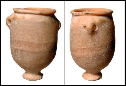 12: New Kingdom Egypt. Lovely alabaster footed jar
