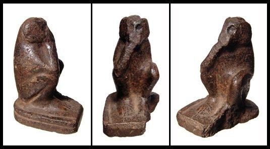 14: New Kingdom Egypt. Basalt seated monkey figure