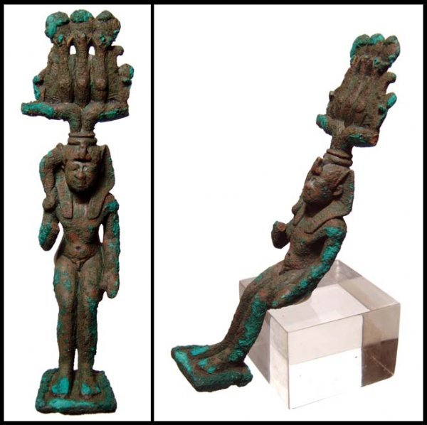 17: Egyptian bronze figure of seated Harpokrates