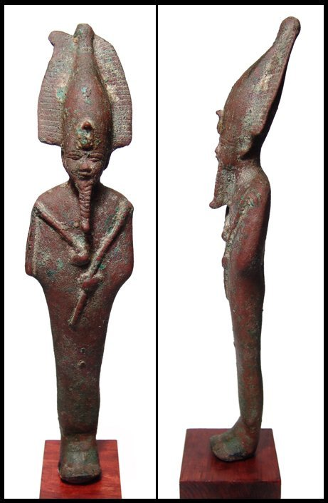 18: Nicely-detailed tall bronze figure of Osiris