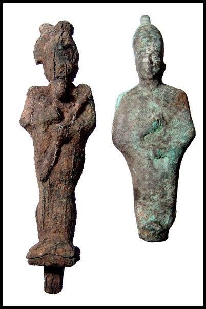 22: Late Period. Pair of bronze figures of Osiris