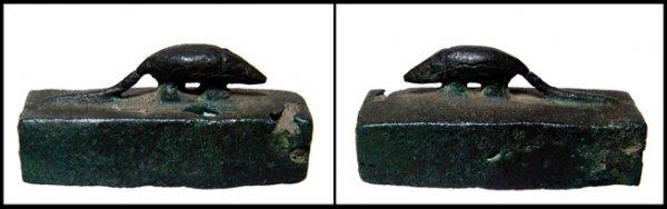 23: Egyptian bronze mummy box for a shrew