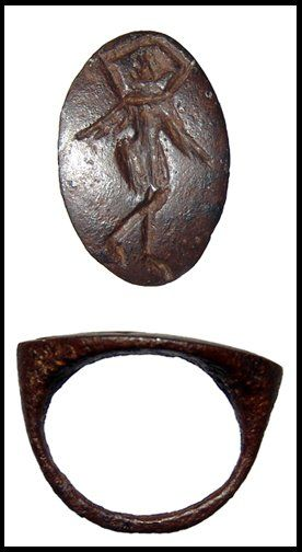249: Hellenistic iron ring with dancing woman