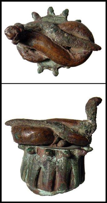 1: Ancient Egypt. Nice bronze headdress with cobras