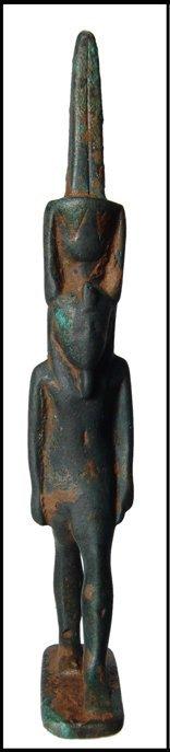 2: Egypt. Large bronze amulet of the god Nefertem