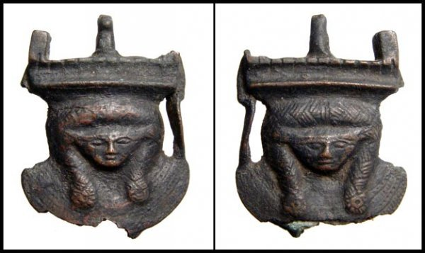 10: Egyptian bronze sistrum base engraved with Hathor