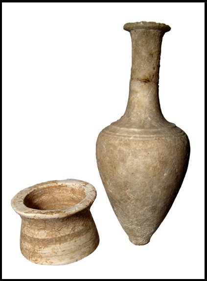 16: Pair of Egyptian alabaster vessels