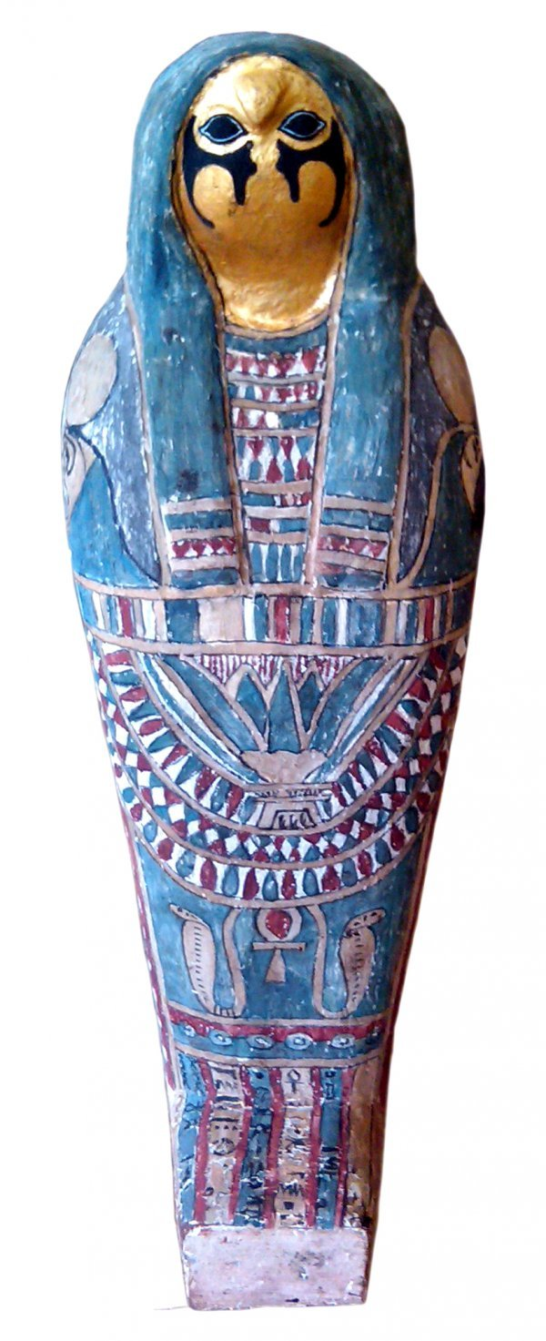 19: Ancient Egyptian falcon mummy with gilt coffin