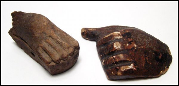 23: Ancient Egypt. Wooden fist and foot