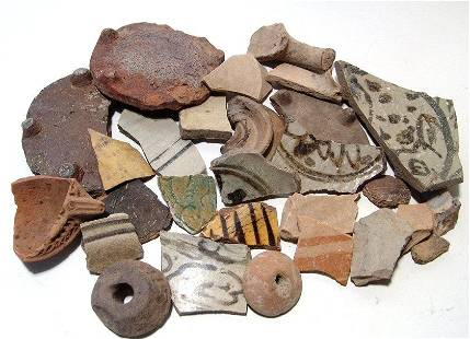 A collection of 29 ancient pottery fragments