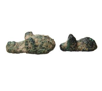 Pair of small Near Eastern bronzes depicting animals