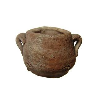 Small ceramic two-handled jar, possibly Medieval