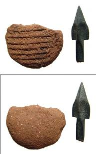 Chinese bronze arrow point and clay seal from Sri Lanka