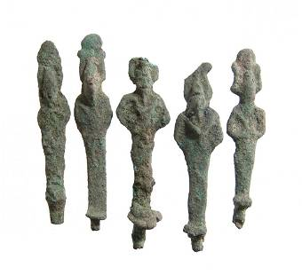 A lot of 5 Egyptian bronze votive figures of Osiris
