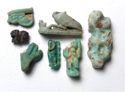 A Lot of 7 Egyptian faience amulet fragments
