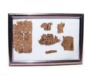 A framed group of ancient papyrus fragments