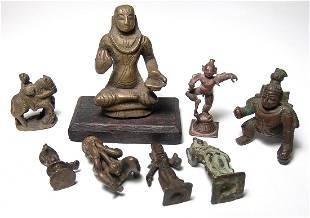 8 antique Indian bronze figurines of various deities