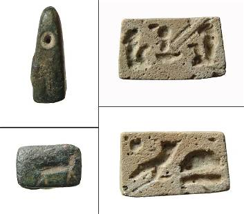 Egyptian faience plaque and Near Eastern bronze stamp