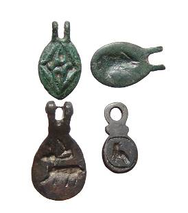 Group of 4 Late Roman/Byzantine hinged bronze seals