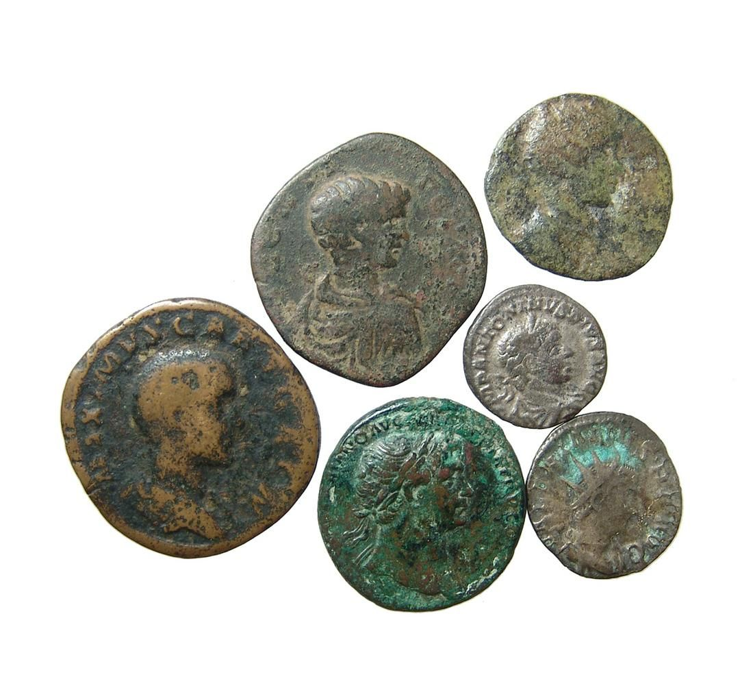 Lot of 6 Roman bronze & silver coins