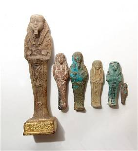 A group of modern 6 Egyptian-style tourist ushabtis
