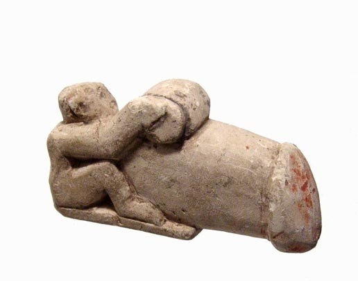 2: Egyptian stone erotic ithyphallic figure of a man