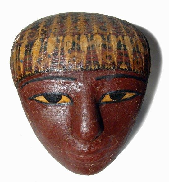 3: Choice Egyptian cartonnage mask from sarcophagus