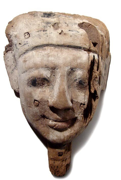 "10: Nice wooden ""mummy mask"" from a sarcophagus"