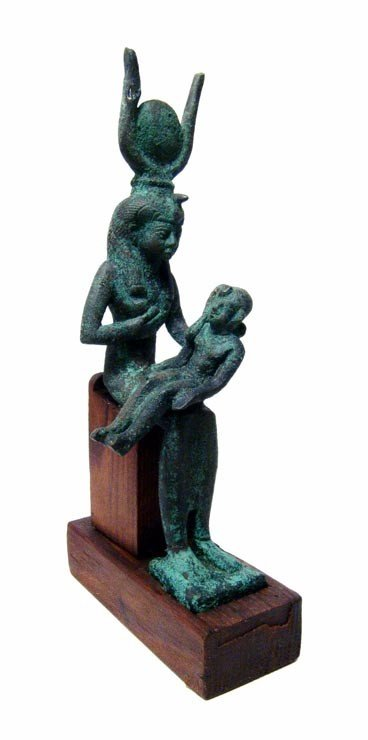 23: Nice bronze figure of Isis suckling infant Horus