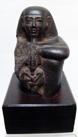 5: Choice Egyptian basalt  Block statue with Osiris