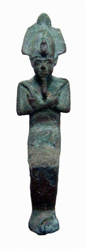 13:Egypt  Late Period, seated bronze figure of Osiris