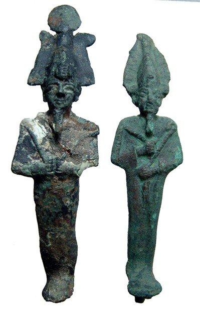 18: 2 bronze figures of Osiris, Late Period