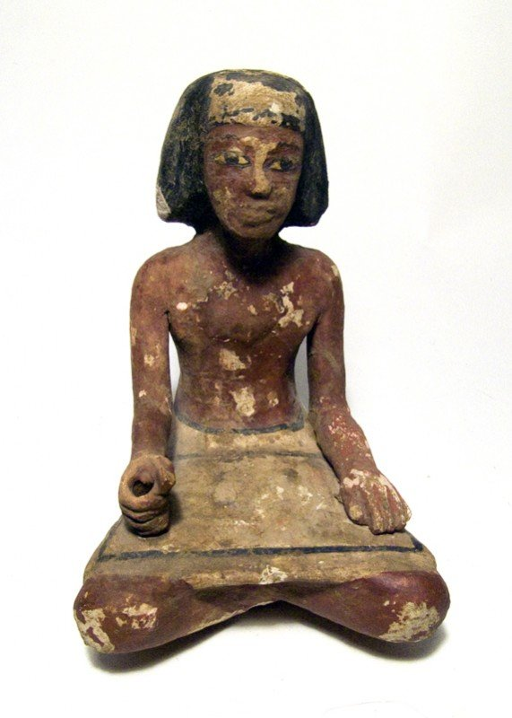 24: Nice wooden Egypt  Middle Kingdom seated scribe