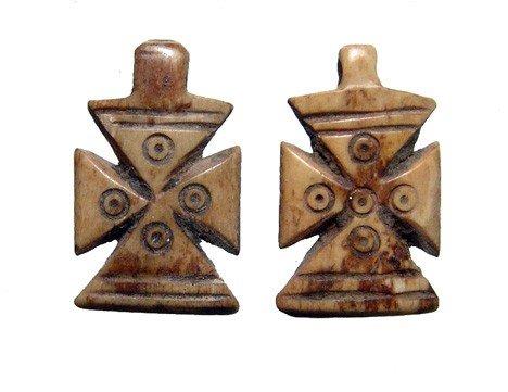 6: Two Coptic bone crosses, Roman Egypt