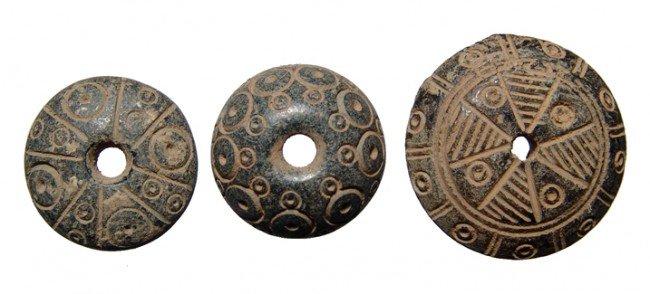 16: Three nice Coptic spindle whorls, Roman Egypt