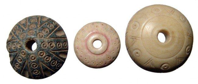 18: Three Coptic spindle whorls, Roman Egypt