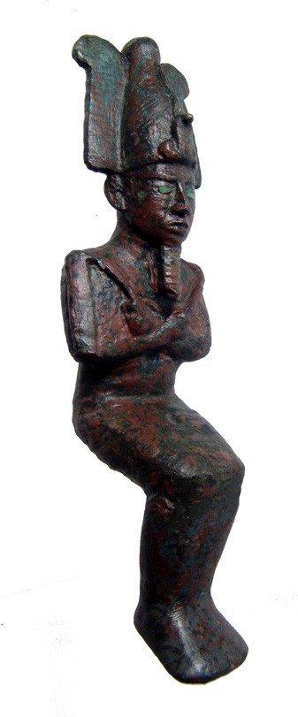 21: Attractive bronze figure of seated Osiris