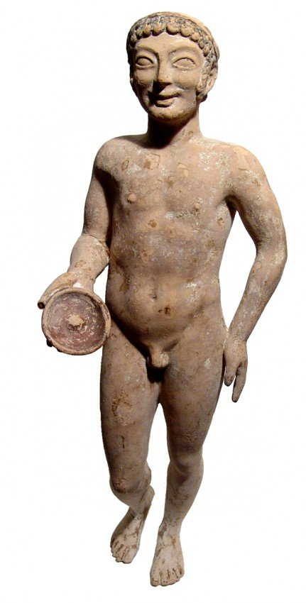 115: Very large Greek terracotta figure of a youth