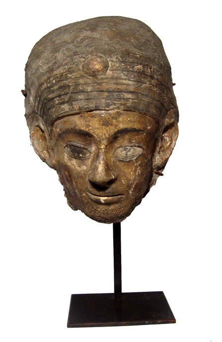 3: Egyptian painted & gilded cartonnage mummy mask