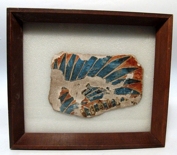 4: Egyptian painted & framed cartonnage fragment
