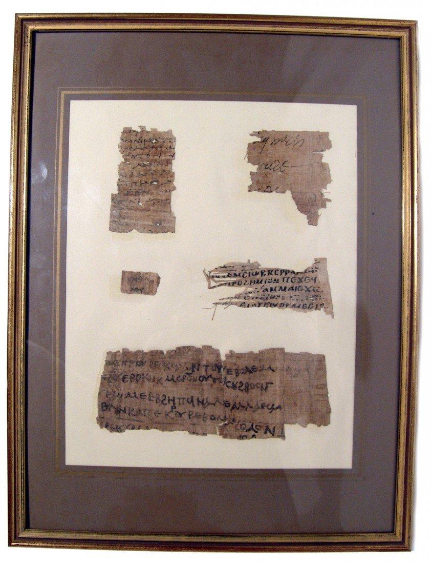 6: Egypt. 5 large framed papyrus fragments,Greek script