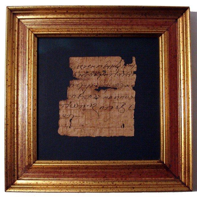 7: Egypt. Papyrus fragment w/ Greek cursive script