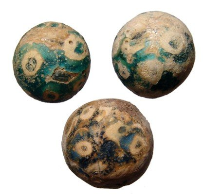 9: Roman Egypt. Lot of 3 glass gaming counters