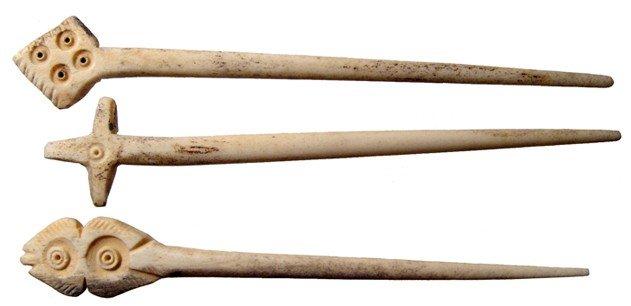 10: 3 Coptic bone pins, Roman Egypt