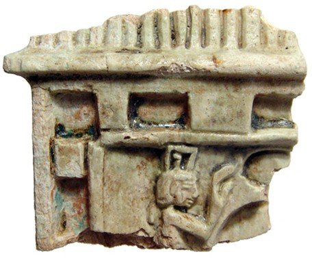 18: Steatite fragment depicting Ma'at and Pharaoh