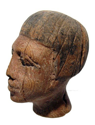 20: Nice Middle Kingdom wooden head of a man