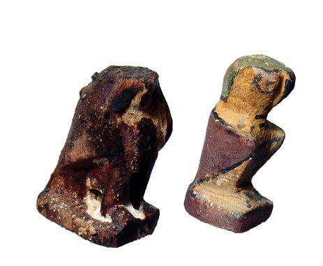 24: Pair of wooden Horus falcons, Late Period