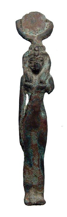 6: Egyptian bronze figure of the goddess Hathor